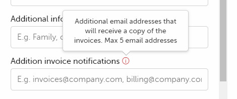 The field with the billing data in which you can enter additional e-mail addresses (max 5), which will receive a copy of the invoice.