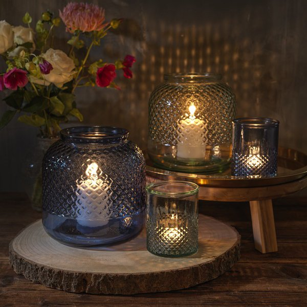 Authentic Estrel recycled glass tealight holder