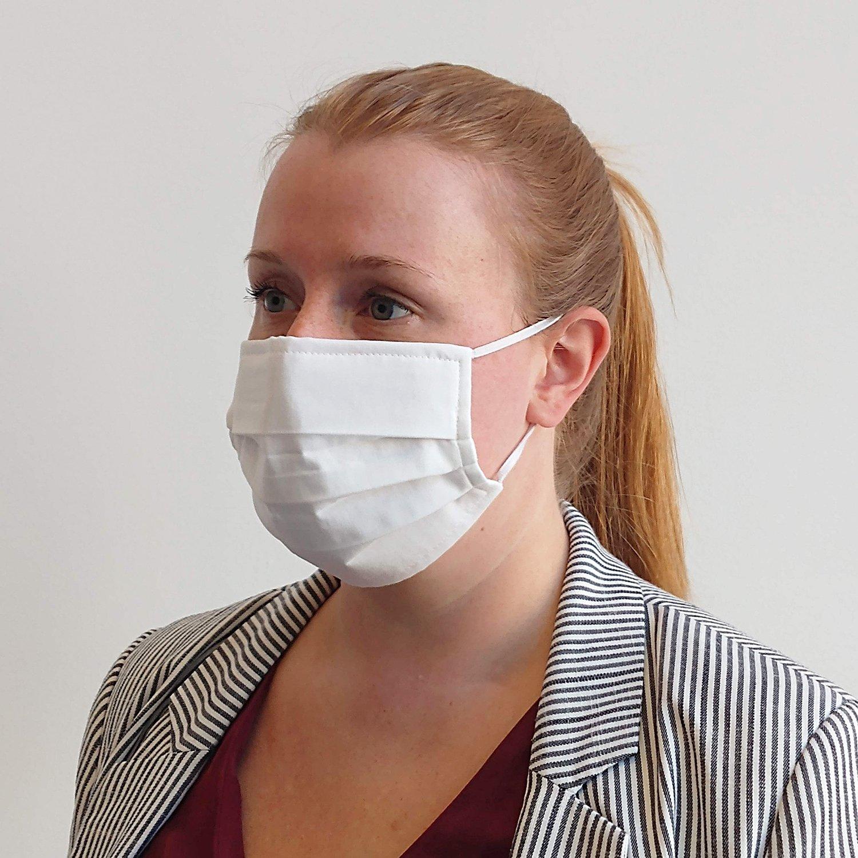Care & More Classic herbruikbaar wit mondmasker
