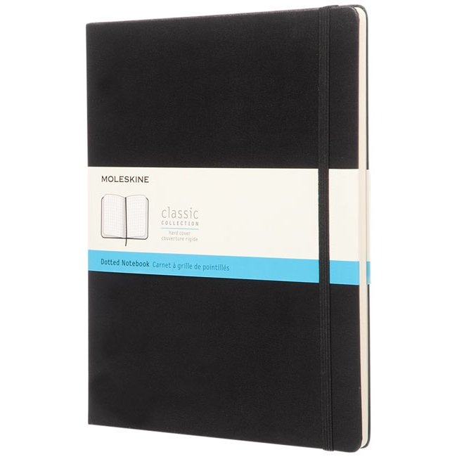 Moleskine Classic XL hard cover notebook, dotted