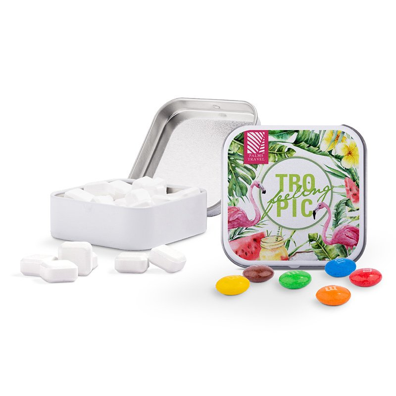 Sweets & More square tin with mints, sweets, Skittles or M&M's