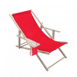 Leza Comfort drink deckchair with armrest and cup holder