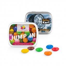 Sweets & More scharnierblikje met muntjes, snoepjes, Skittles of M&M's