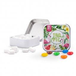 Sweets & More vierkant blikje met muntjes, snoepjes, Skittles of M&M's