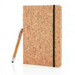 XD Collection A5 cork notebook with bamboo pen, ruled