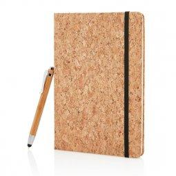 XD Collection A5 kurken notitieboek met bamboe stylus pen