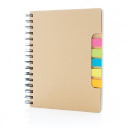 XD Collection Kraft A5 notebook with sticky notes
